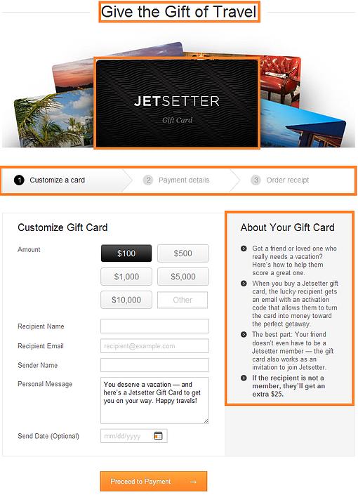 jetsetter landing page