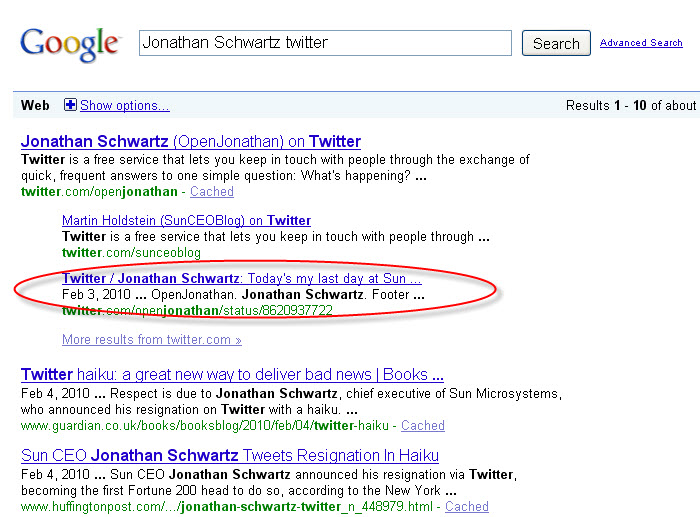 Jonathan Schwartz Google Search Results