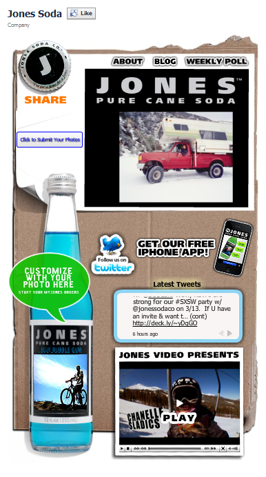 Jones Soda Facebook Fan Page