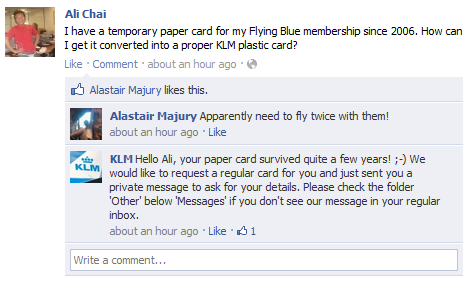 klm facebook customer service