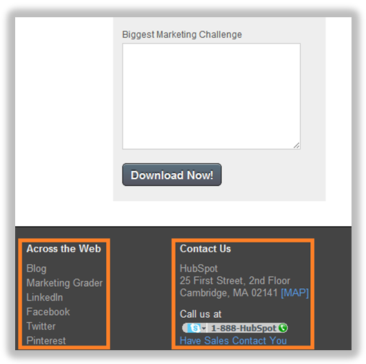 landing page contact information