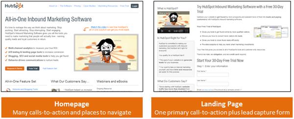 landingpage vs homepage