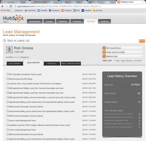 lead management page hubspot half