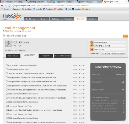 lead management page hubspot half