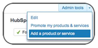 linkedin company page add product