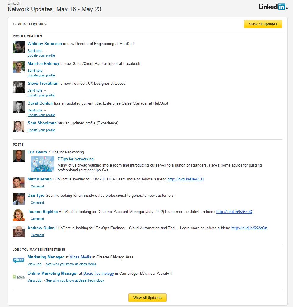 linkedin email digest