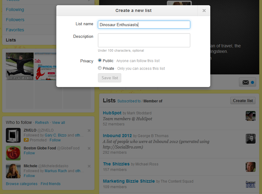 lists twitter