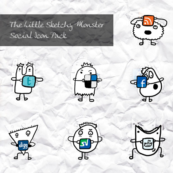 little sketchy monster icon set
