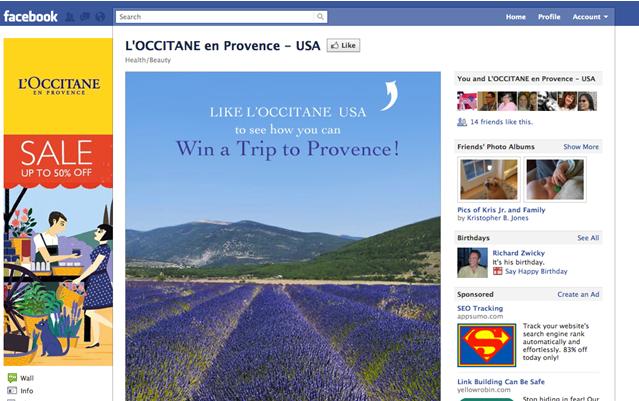 loccitane facebook page conversions beisenberg
