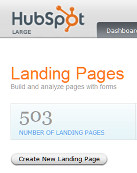 HubSpot's Total Landing Pages = 503