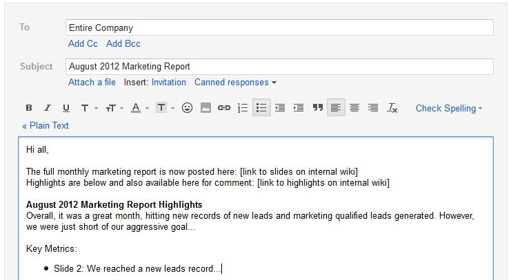 marketing report highlights