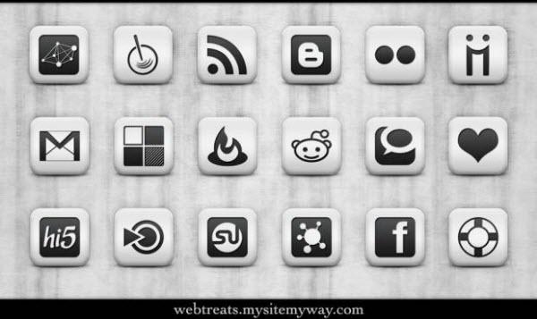 matte white icon set