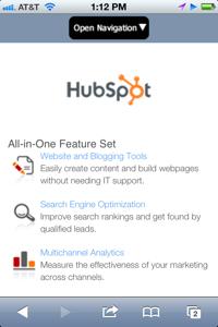 hubspot mobile site