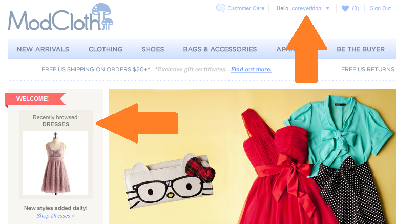modcloth ecommerce website