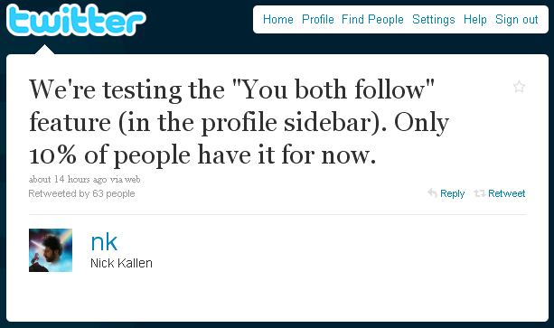Twitter Testing 'You Both Follow' Feature on 10% of Users