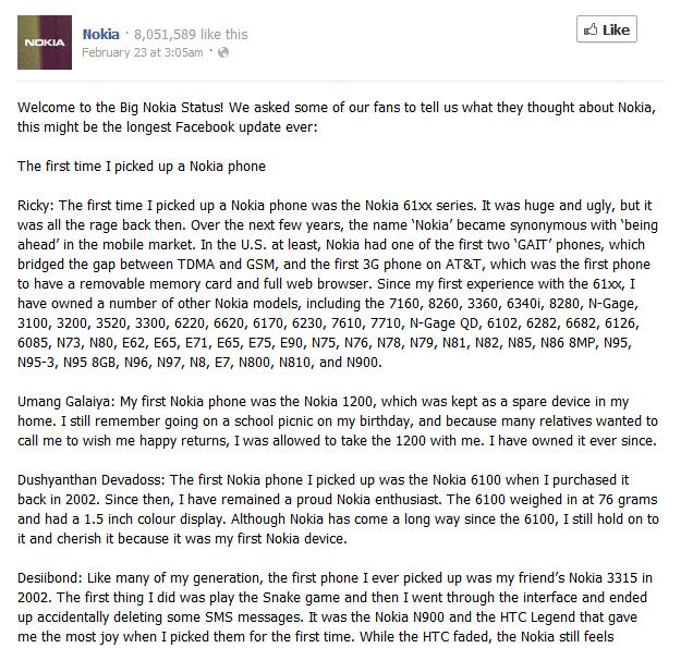 nokia facebook update