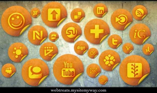 orange grunge stickers icon set