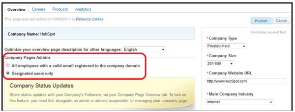 linkedin page admins