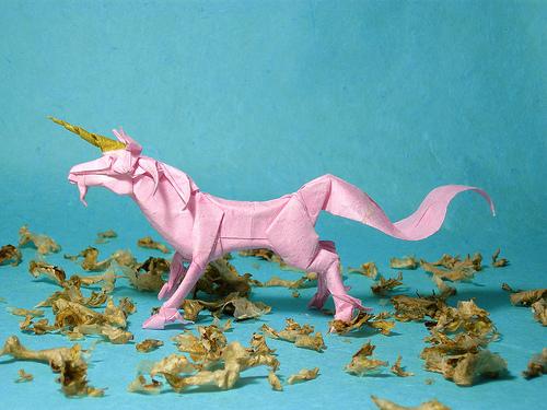 pink paper unicorn