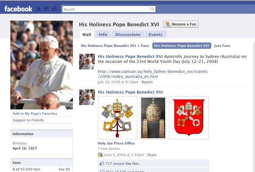 Pope Benedict on Facebook