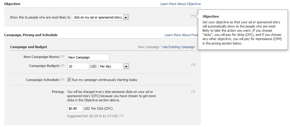 facebook ad pricing