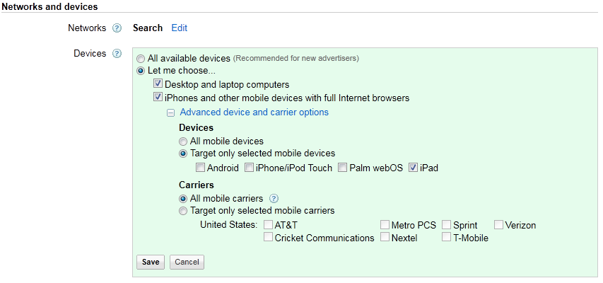 PPC Mobile Devices Settings