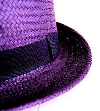 purple straw hat