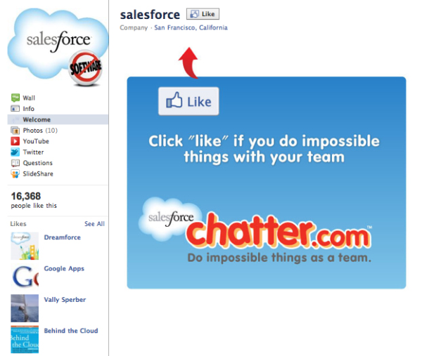 salesforce facebook fan pag
