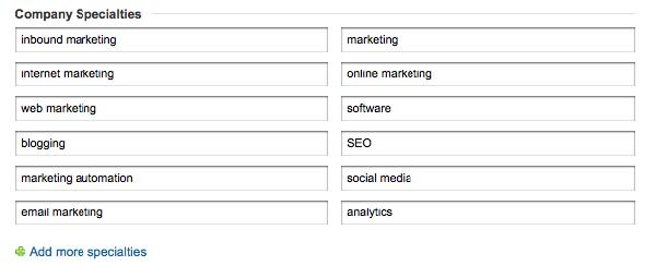 LinkedIn Company Specialties