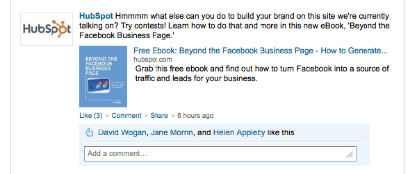 HubSpot LinkedIn Status Update
