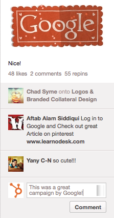 Pinterest Comments Google