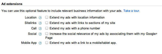 google adwords settings