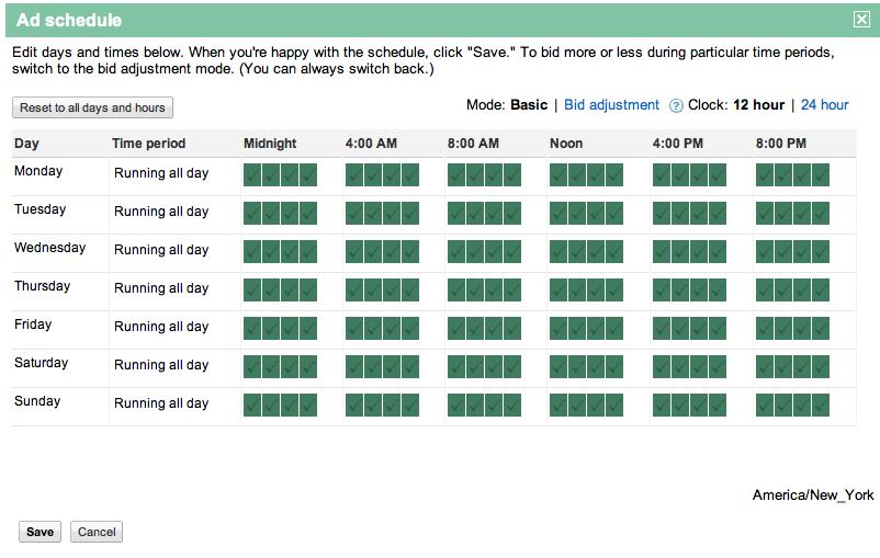 google adwords schedule