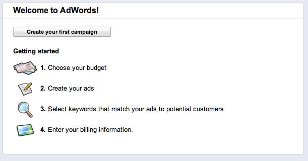 google adwords campaign create