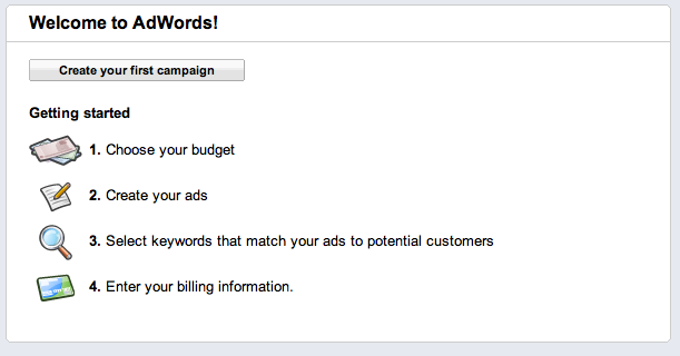google adwords campaign create