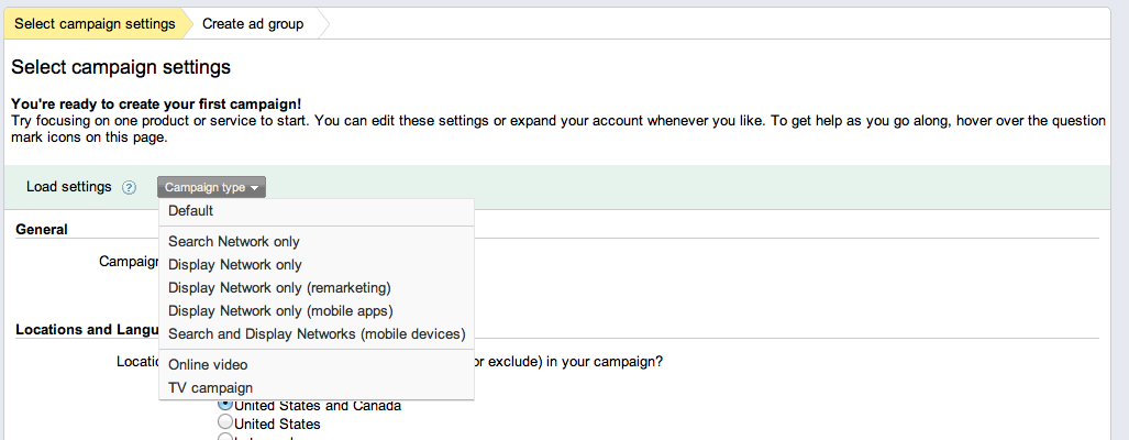 campaign type google adwords