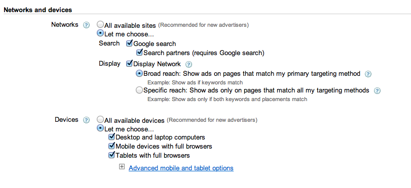 google adwords networks and devices