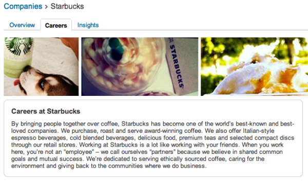 Starbucks LinkedIn Company Page