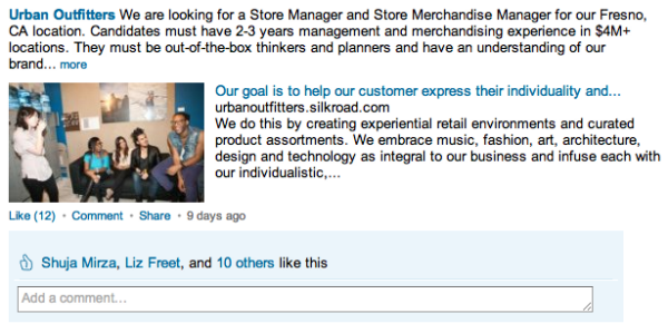 Urban Outfitters LinkedIn Company Page