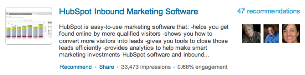 HubSpot Inbound Marketing Software LinkedIn Recommendation
