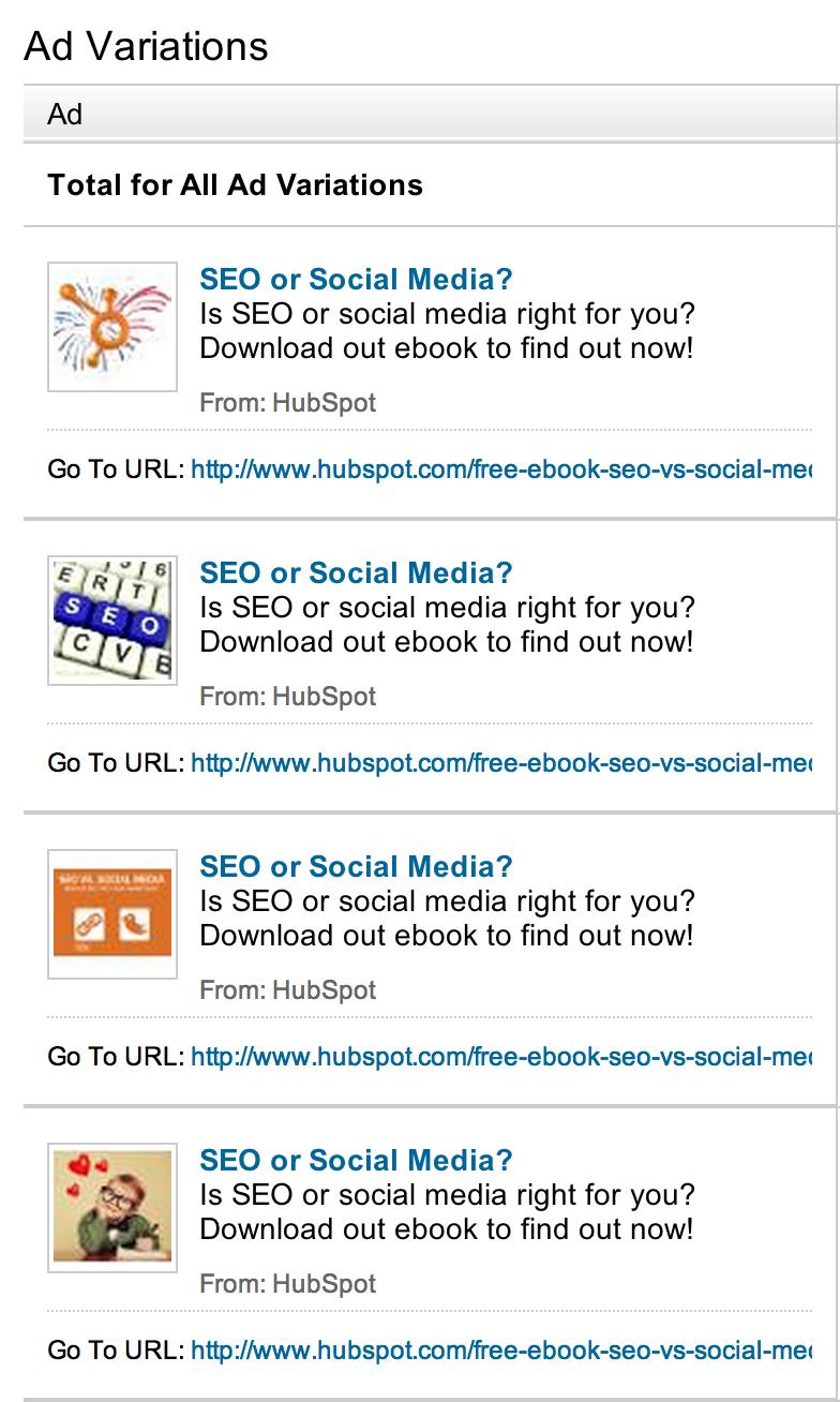 HubSpot LinkedIn Ad Variations