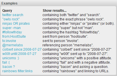twitter search examples