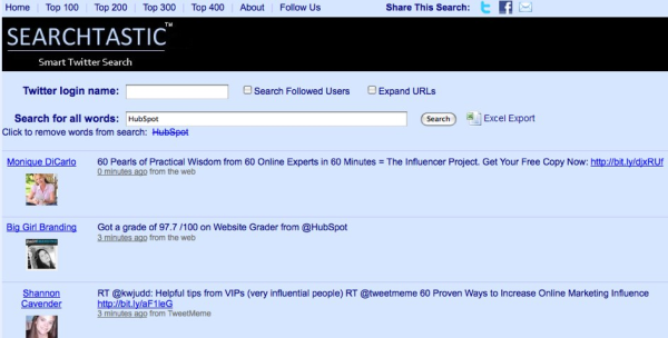 Searchtastic.com   search Twitter history and export tweets to Excel resized 600