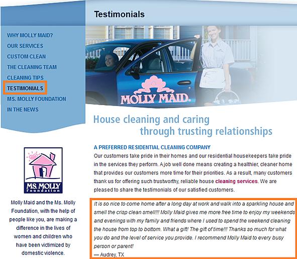 site testimonials