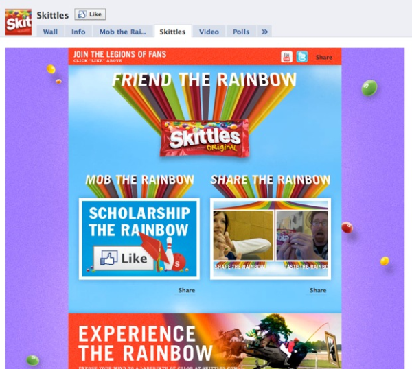 skittles facebook fan pag
