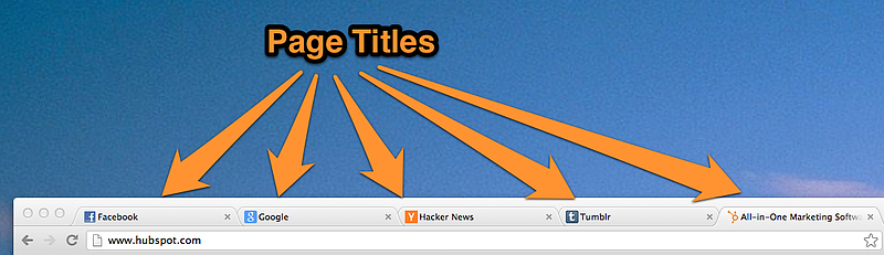 Five page titles on tabs of a web browser