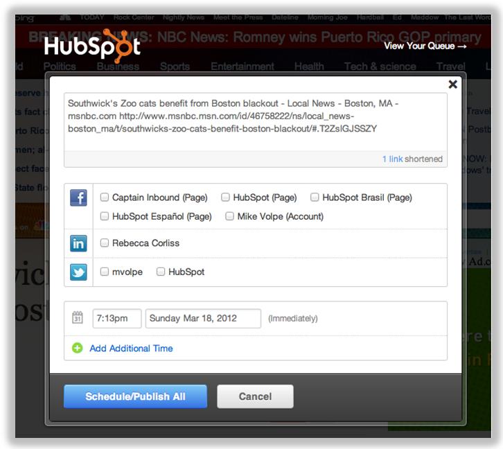 social media bookmarklet hubspot