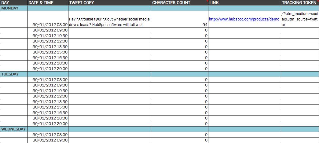 social media schedule template