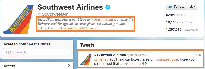 southwest twitter customer service