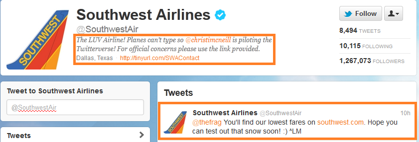 southwest twitter customer service